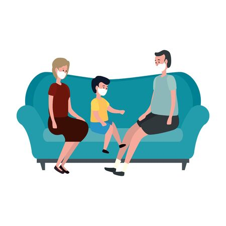 campaign stay at home with family using face mask in living room vector illustration design