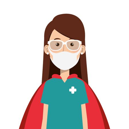super female paramedic with face mask and hero cloak vector illustration design