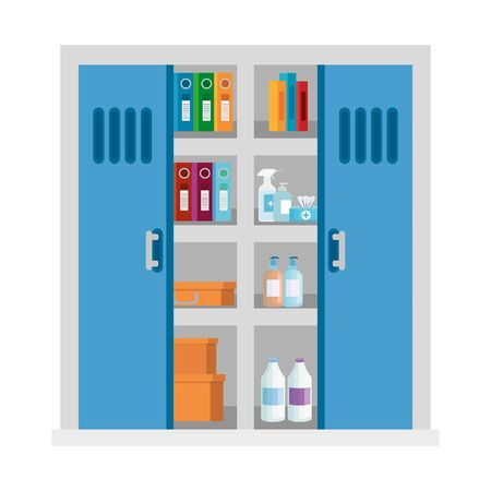 locker with productos cleaning and objects vector illustration design Ilustração