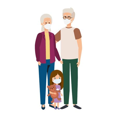 grandparents with granddaughter using face mask vector illustration design