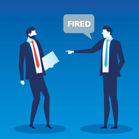 scene of boss saying you are fired employee vector illustration design
