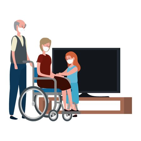 campaign stay at home with grandparents with granddaughter using face mask watching tv vector illustration design