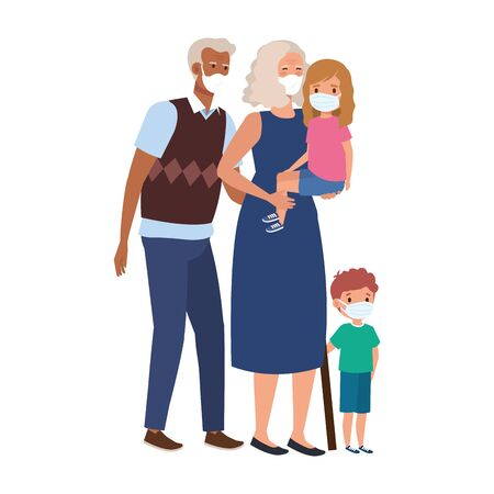 grandparents with grandchildren using face mask vector illustration design