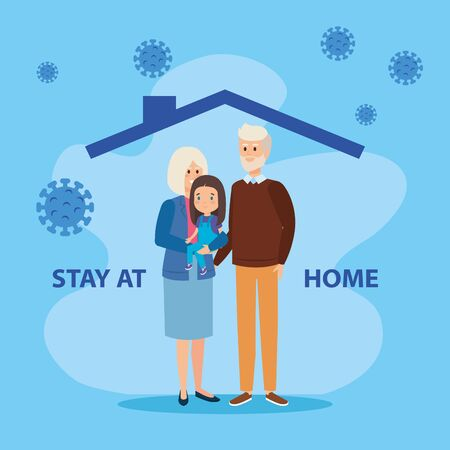 stay at home campaign with grandparents and daughter vector illustration design