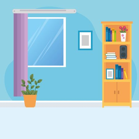 scene house interior with furnitures and decoration vector illustration design Çizim