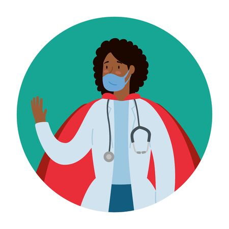 super doctor female afro with face mask and hero cloak vector illustration design Vettoriali