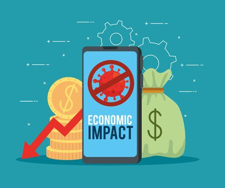 smartphone with icons of economic impact by covid 2019 vector illustration design Vectores