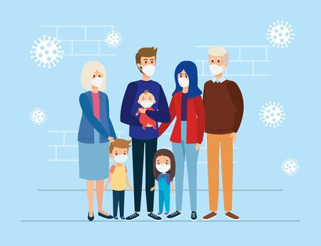 cute group family using face mask vector illustration design