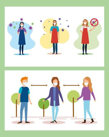 people using face mask and social distancing for covid19 vector illustration design