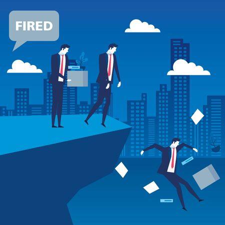 scene of businessmen unemployed in precipice vector illustration design Vecteurs