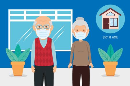 old couple using face masks for covid19 pandemic vector illustration design Illustration