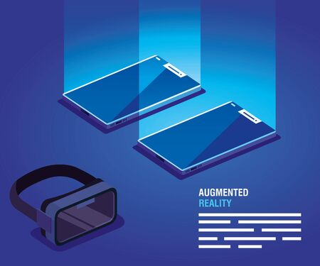 glasses and smartphones of reality augmented vector illustration design