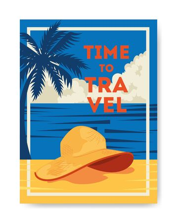 time travel poster with summer landscape and icons vector illustration design
