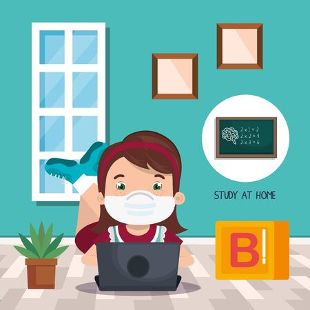 stay at home campaign with girl studying online vector illustration design