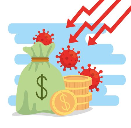 money bag and icons of economic impact by covid 2019 vector illustration design