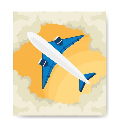 travel poster and airplane with clouds vector illustration design Çizim