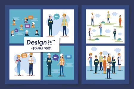 six designs set of group workers vector illustration design Ilustracja