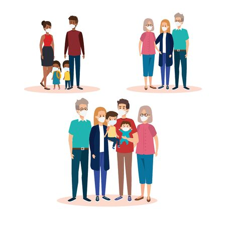set scenes of families using face mask vector illustration design Illustration