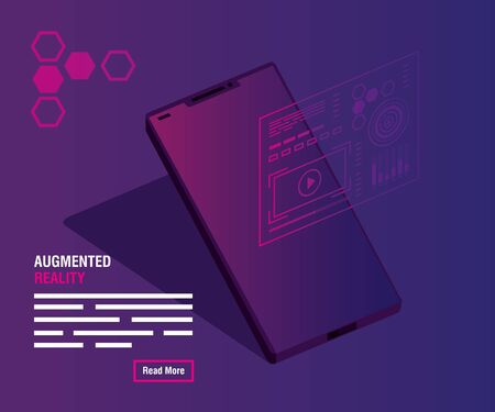 reality augmented technology with smartphone vector illustration design