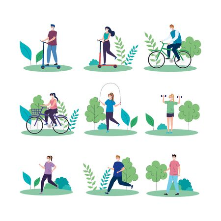 scenes of landscapes with people using face mask practicing activities vector illustration design