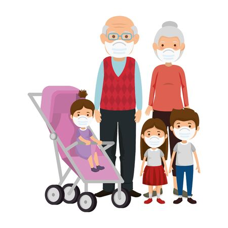 grandparents with children using face mask vector illustration design Illustration