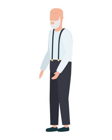 cute old man comic character vector illustration design