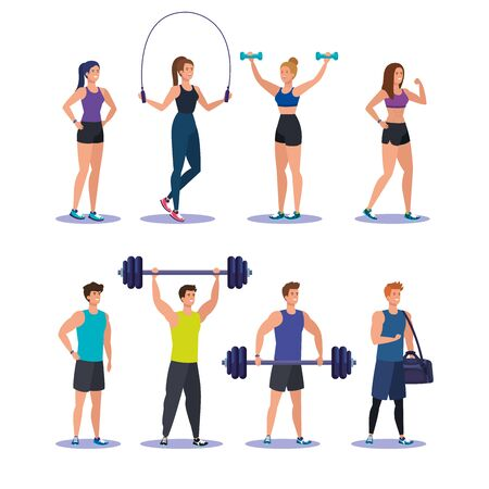 set of women and men practice sport activity over white background, vector illustration