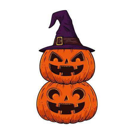 halloween pumpkins with hat witch pop art style vector illustration design