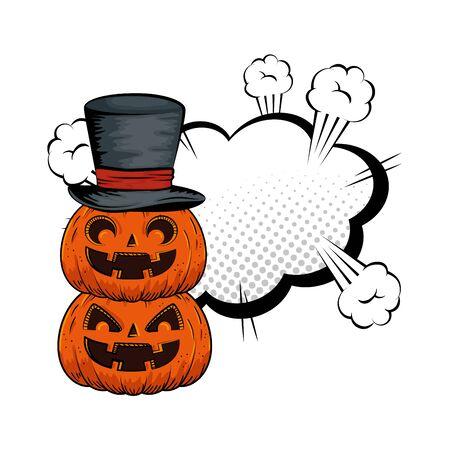 halloween pumpkin with hat wizard and cloud style pop art vector illustration design