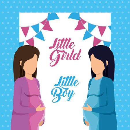 women pregnant of little boy and girl with letter invitation to baby shower vector illustration Illustration