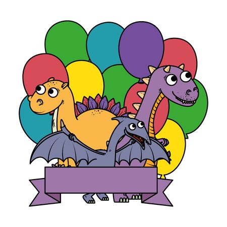 cute dinosaurs group with balloons helium frame vector illustration design 矢量图像