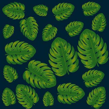 exotic leaves plants pattern vector illustration design Vettoriali