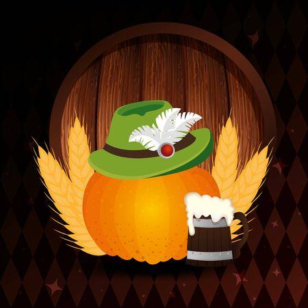 Oktoberfest beer design, Germany festival celebration europe landmark munich culture and party theme Vector illustration Ilustração