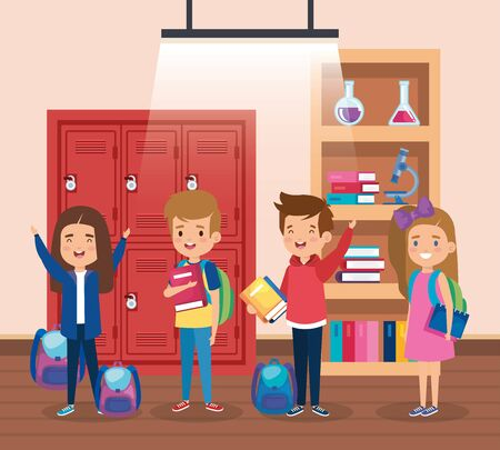 girls and boys students with lockers and bookcase to back to school vector illustration