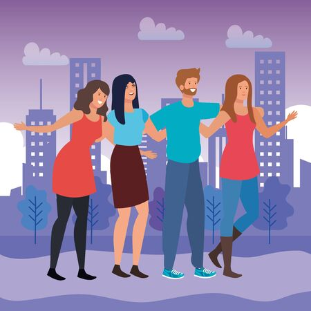 girls and boy friends together with casual clothes in the city scape with buildings and trees, vector illustration Иллюстрация