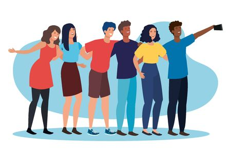 girls and boys friends with casual clothes and smartphone selfie to friendship day, vector illustration