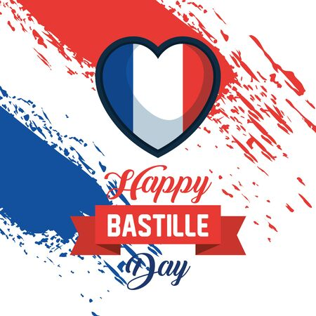 heart france flag with ribbon decoration to bastille celebration vector illustration Illusztráció