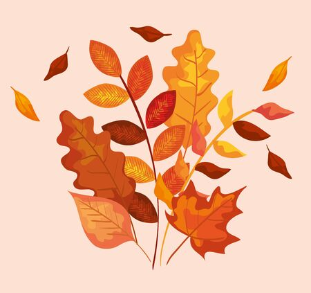 nature leaves and branches plants decoration over pink background, vector illustration Illustration