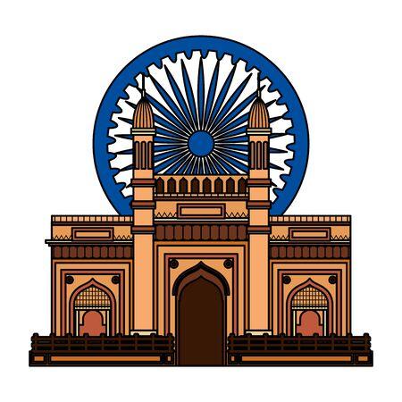 ashoka chakra with indian gate palace vector illustration design Ilustração