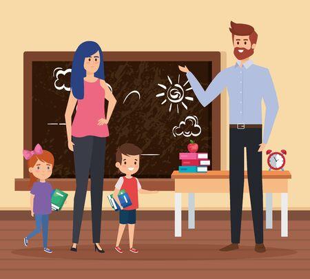 teachers couple with students kids in the school scene vector illustration design