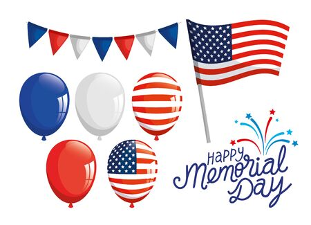 set icons of happy memorial day vector illustration design
