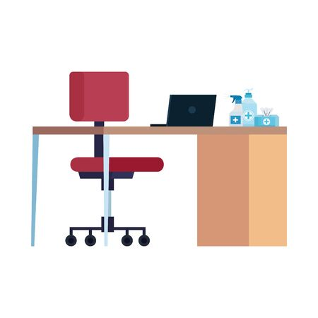 workplace with desk and products cleaning vector illustration design