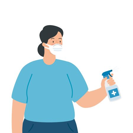 woman using face mask with bottle sanitizer vector illustration design