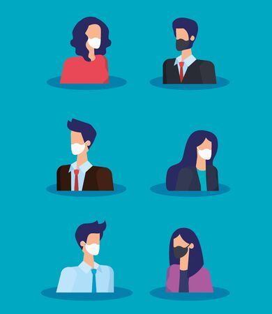 group of business people using face mask vector illustration design