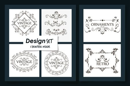 six designs of vintage ornamental frames vector illustration design