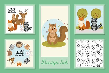 designs set of cute wild animals vector illustration design