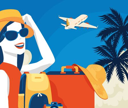 travel poster with woman and airplane vector illustration design