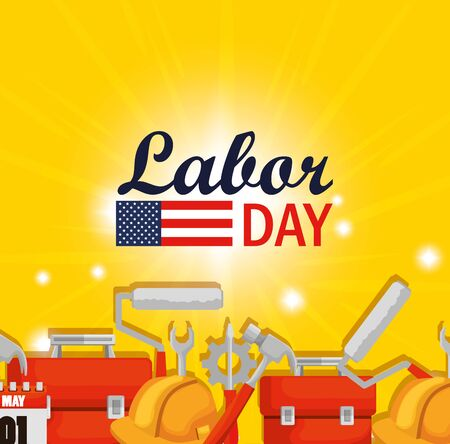 labor day celebration with construction tools vector illustration