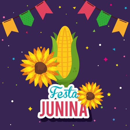 festa junina poster with cob and decoration vector illustration design