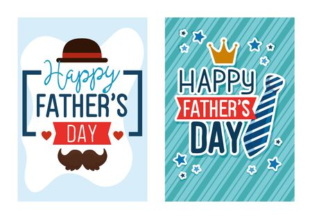 ser cards of happy fathers day with decoration vector illustration design